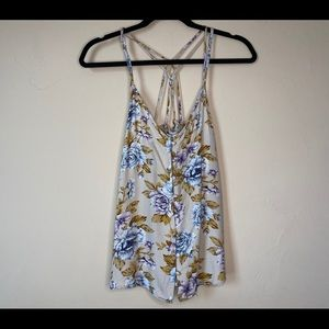 American Eagle Yellow Floral Crossback Tank Top XS